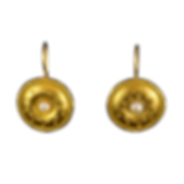 22 karat gold dangling earrings with granulation, wire edging, and natural pearls