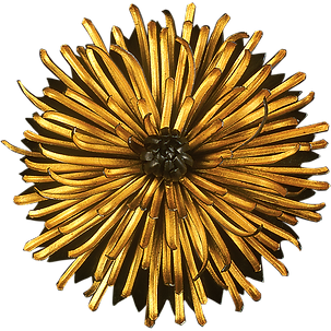 A Chrysanthemum brooch and pendant made with gold and oxidized silver