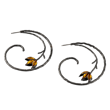 Twig textured oxidized silver hoops with gold leaves