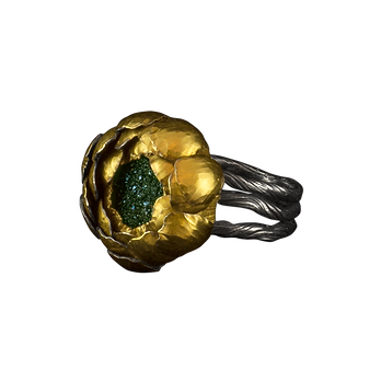 A ring with a twig textured multi-band, and a titanium coated druzy in a gold peony bezel