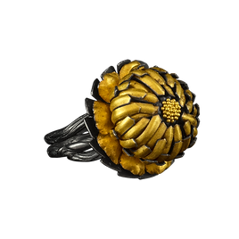 A ring with a twig-textured multi-band, and a gold and silver zinderella flower