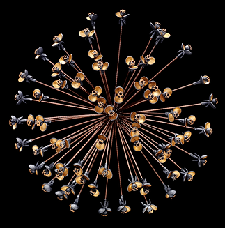 A brooch/pendant made with gold overlay, bronze coated steel, and 22 karat gold granulation
