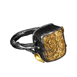 A ring with a twig textured silver band, little gold leaves, and a square bronzite stone
