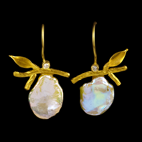 Twig and Leaf Earrings with White Petal Pearls