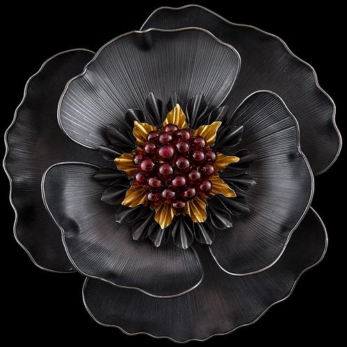 Poppy Brooch/Pendant with Purple Garnets