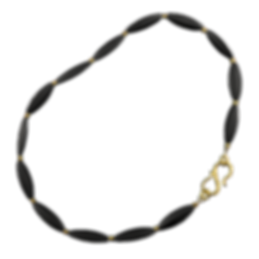 A strand of onyx beads with 20 karat gold bead spacers and a 22 karat gold twig s clasp