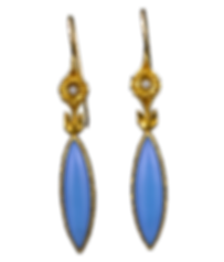 Dangle earrings with blue chalcedony marquis cabochons, diamonds, and 22 karat gold granulated tufts