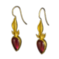 22 karat gold drop earrings with textured gold bezels and rubellite tourmaline teardrop cabochons