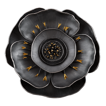 A brooch/pendant with hand textured silver petals, gold, and granulation.