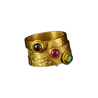 Three stacked gold rings with textured bands, and garnet, pink tourmaline, and tsavorite cabochons