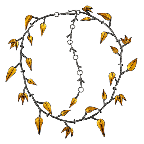 A necklace made of articulated sterling silver twigs with articulated gold leaves