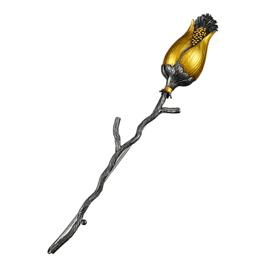 A twig stick pin with a gold overlay hollow form bud and granulation