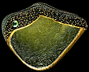 A brooch/pendant made with silver tufts, granulation, gold bezel, moldavite, and an emerald cabochon