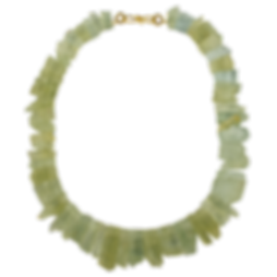 A strand of green beryl with a 18 karat gold twig s clasp