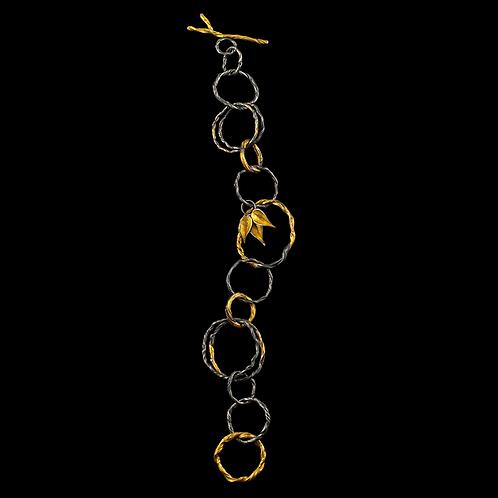 Gold Overlay Twig and Leaf Bracelet