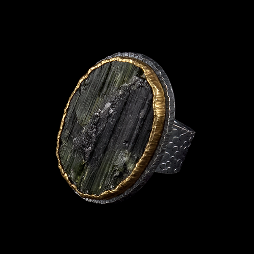 Surface Tourmaline Ring, Vertical Oval Stone
