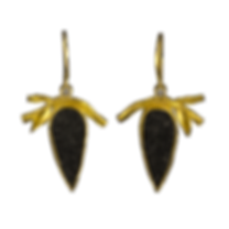 22 karat gold dangling earrings with twigs, leaves, textured bezels, and black druzy agates