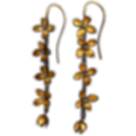 Dangling earrings with twig textured silver rods and gold flowers and dangling gold buds
