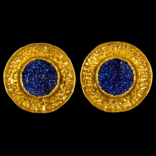 Blue Titanium Druzy Round Earrings with Tufts