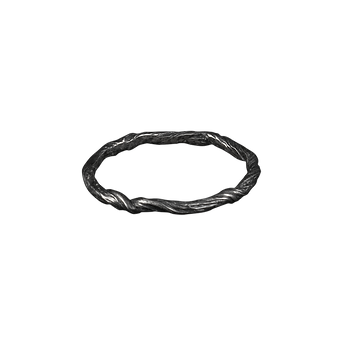 A twig textured oxidized silver band