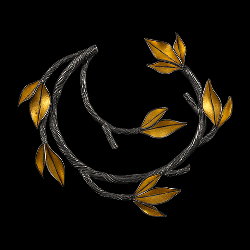 Twig and Leaf Circle Brooch