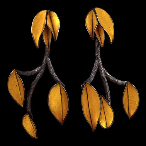 Twig and Leaf Long Earrings