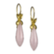 Dangling drop earrings made with 22 karat gold caps and rose quartz drops