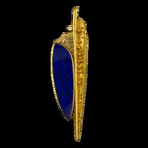 A 22 karat gold hand fabricated pin with a diamond and deep blue boulder opal