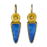 Dangling earrings made with textured 22 karat gold bezels, 22 karat gold flowers, diamonds, and boulder opals