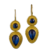 Dangling earrings with double lines of 22 karat gold granules, with a round blue moonstone cabochon, and detatchable blue moonstone teardrop cabochons