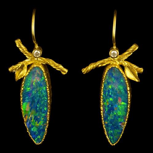 Twig and Leaf Opal Earring