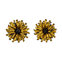 Post earrings with oxidized silver and 24 karat gold overlay flowers