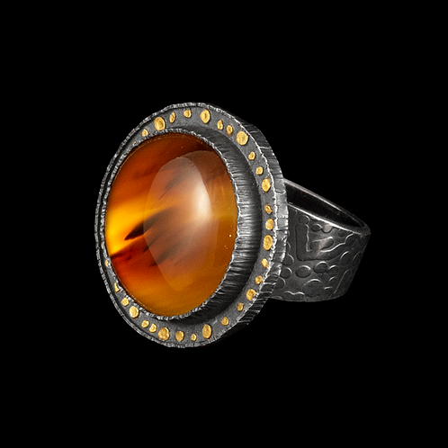 Moss Agate Ring with Smashed Shot