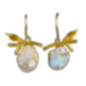 Dangling earrings with gold twigs, gold leaves, diamonds, and white petal pearls