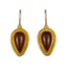 22 karat gold dangling earrings with gold balls, granulation, wire edging, and red chalcedony cabochons