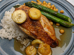 Pan-Seared Chicken Breast with Coconut Rice, Spicy Chickpeas, & Banana-Dandelion Honey Sauce