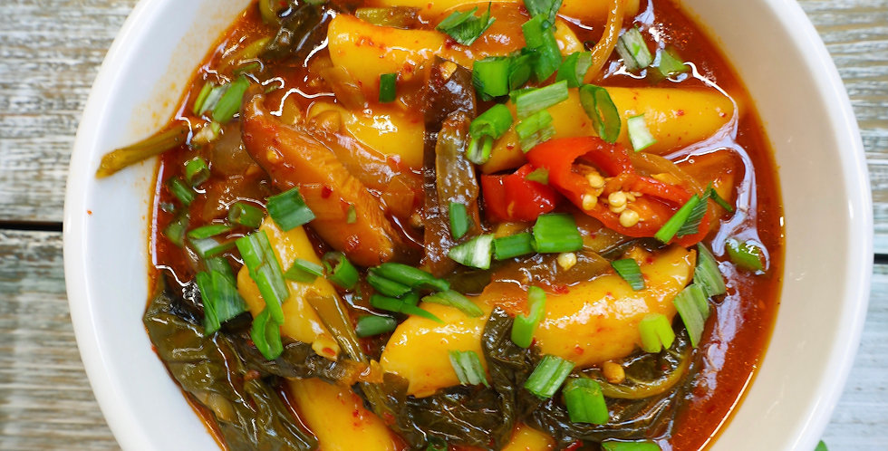 Spicy Rice Cake With Collard Greens