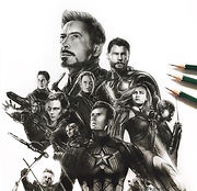 Drawing of the _avengers poster for endg