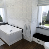 Projekt pokoju kąpielowego z elementami klasyki