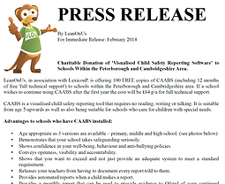 Charitable Donation of 'Visualised Child Safety Reporting Software' to Schools Within the Peterborough and Cambridgeshire Area.