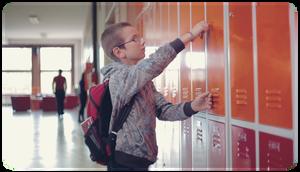 SaferChild - Checking it at school locker.