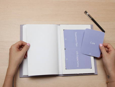 The kit includes cards with concepts about life style, finances, social life, sex life, appearance, logistics, medical, among others.
