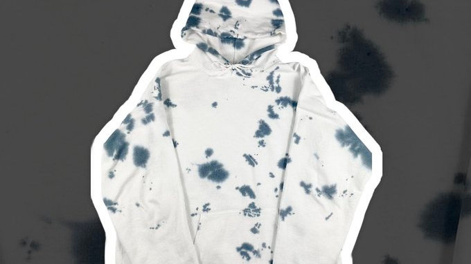 Custom Grey & White Tie Dye Hoodie NEW