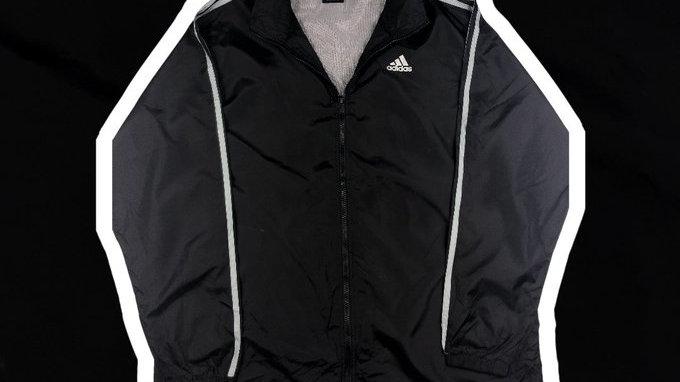 Adidas Black Windbreaker- Large