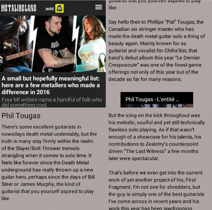 Phil Tougas feature in MetalIreland.com