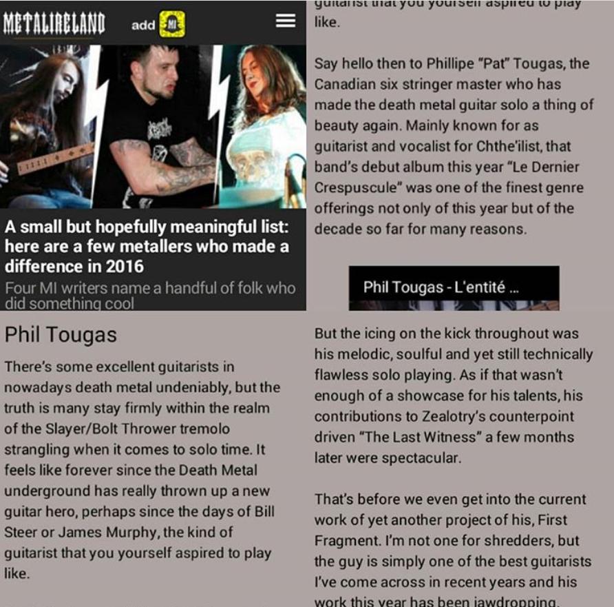 Phil Tougas feature in MetalIreland.com