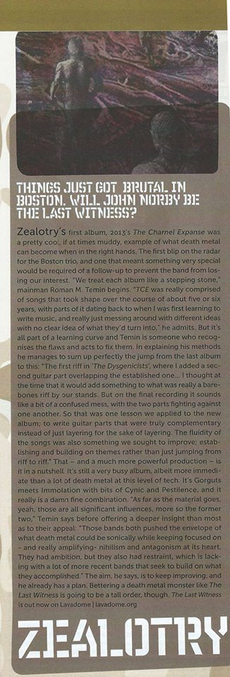 Zealotry - The Last Witness Review