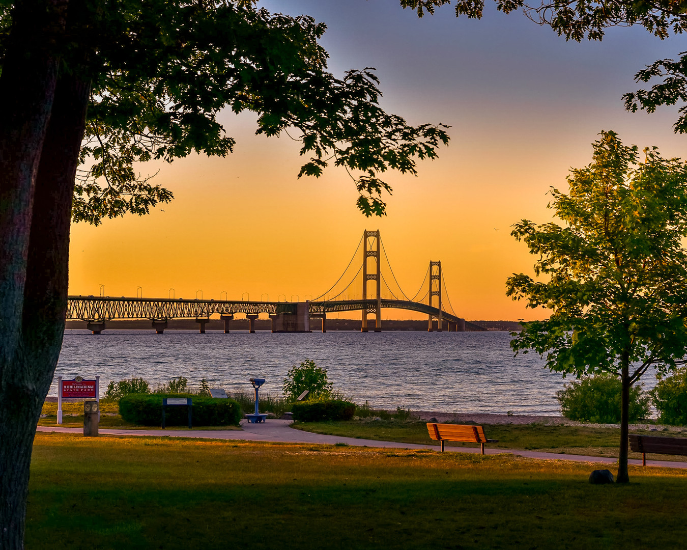 Sunset at Mackinac Bridge
