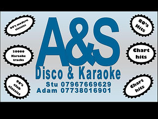 Business card for A&S Disco and Karaoke. Club Classics. Party Songs
