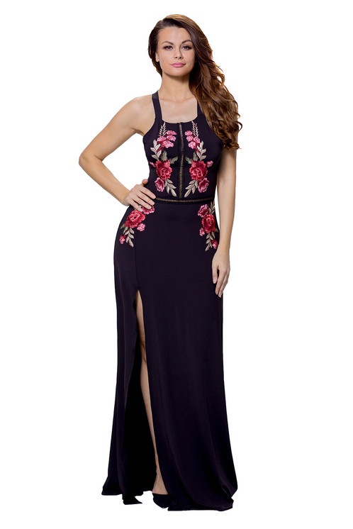 High Split Floral Embroidered Maxi Dress